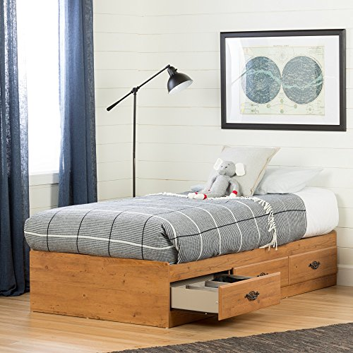 South Shore Prairie Collection Twin Bed with Storage - Platform Bed with 3 Drawers - Country Pine Finish