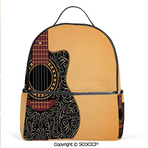 Casual Fashion Backpack Clipped Guitar with Vintage Floral Folk Ornaments Musician Hobbies Decorative,Pale Orange Black Maroon,Mini Daypack for Women & Girls (Christmas Ornaments Barn 12 Pottery Days Of)