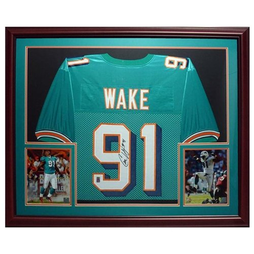 Cameron Cam Wake Autographed Miami Dolphins (Teal #91) Deluxe Framed Jersey - Wake Holo