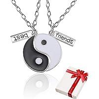 Yin Yang Taichi Cadena colgante de plata para parejas, collares de amistad de 2 piezas ying yang Hasl Collar con grabado…