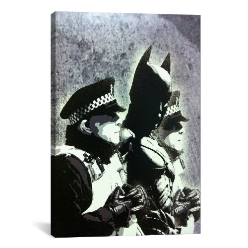 iCanvasART Batman and The Police by Banksy Canvas Art Print, 40 by 26-Inch