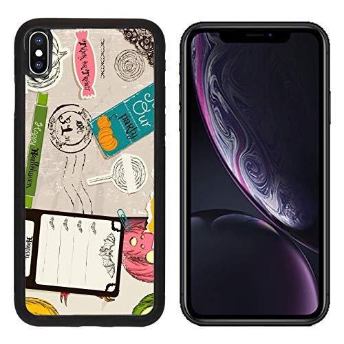 (Luxlady Apple iPhone XR Case Aluminum Backplate Bumper Snap Cases Vintage Halloween Scrapbooking Set Image ID 26453314)