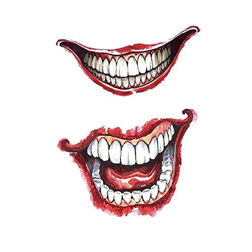Temporary Tattoos - 5pcs Temporary Art Decal Makeup Waterproof Mouth Halloween Terror Tattoo Sticker - Prominent Obvious Loud Hulky Biggish Heavy Huge Lip Label Large Utter Outsized