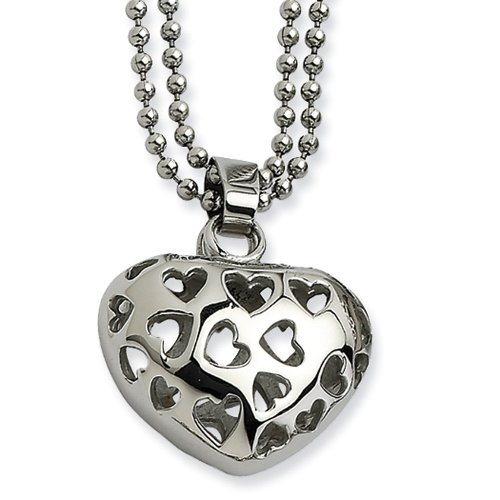 Double Puffed Hearts (Stainless Steel Puffed Heart Double Delight Necklace - 22 Inch)