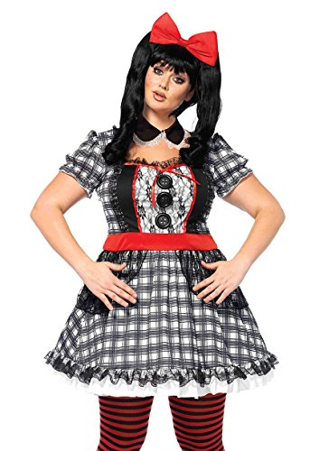 Leg Avenue Women's Plus Size Darling Babydoll Creepy Doll Costume, Multi 3X-4X ()