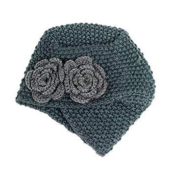 Ssowun Nuevos Gorros de Turbante de Lana Flores para Mujer 97288ac3a43