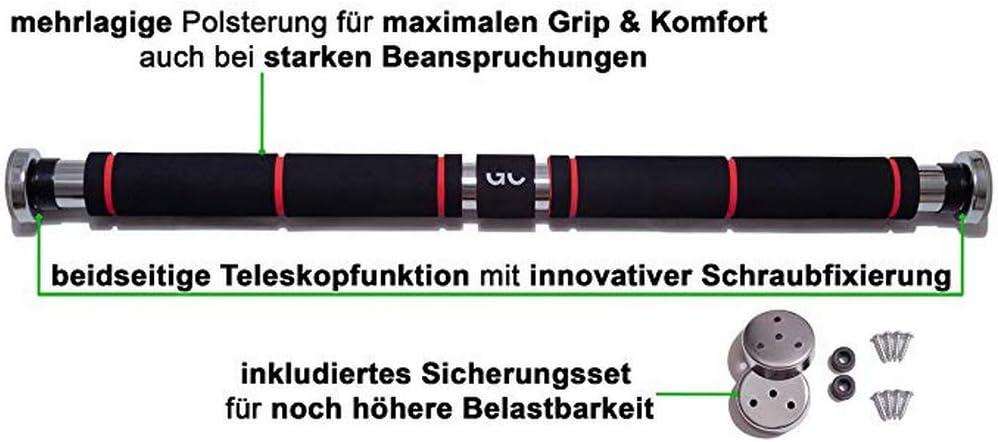 ohne Schrauben Die T/ürstange ist ideal f/ür Indoor-Training 300kg max Boyang Klimmzugstange mit Handpolster Teleskopstange Klimmzugstange 100cm