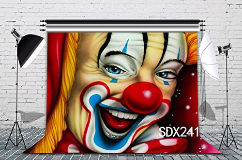 LB 7x5ft The Clown Poly Fabric Christmas Photo Backdrops Customized Photography Backdrop Background Studio Props SDX241