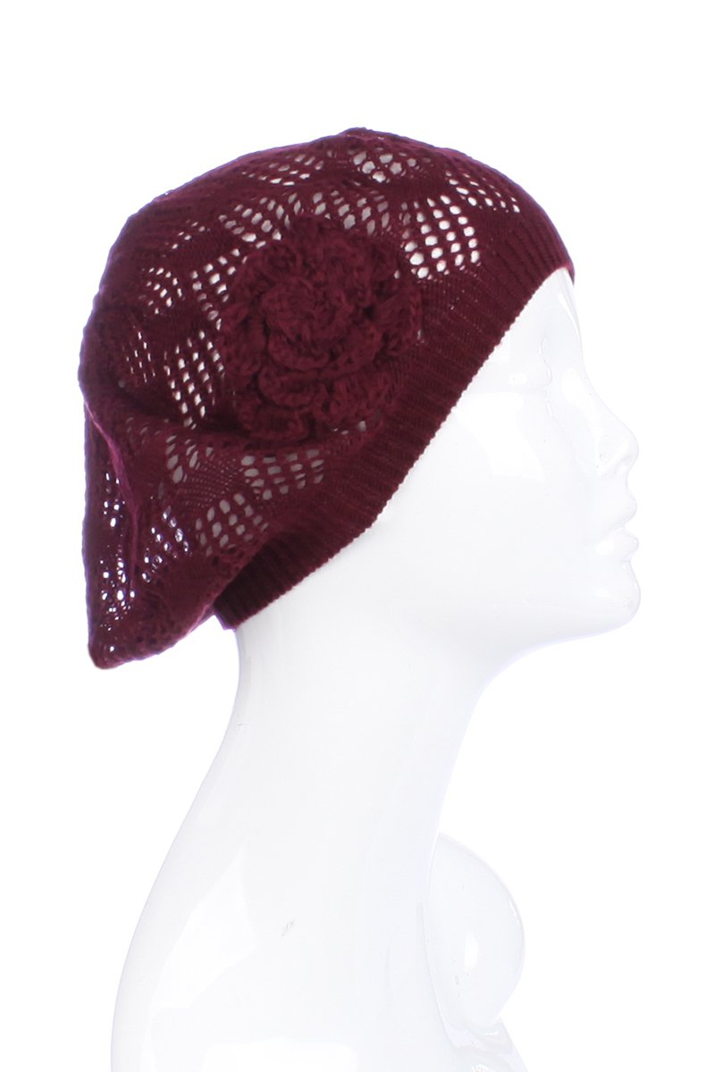 AN Womens Beanie Lightweight Fashion Hair Accessory Mini Square Flower Burgundy by BSB
