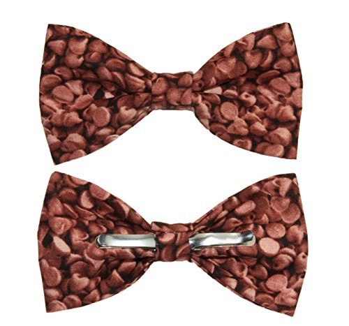 Toddler Boy 3T 4T Chocolate Chips Clip On Cotton Bow Tie - Made In The USA