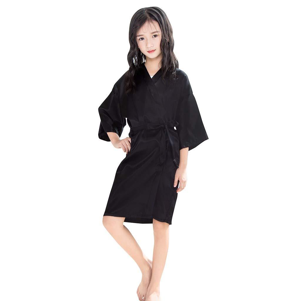 Toddler Baby Bathrobe Girls Kids Satin Kimono Robe Nightgowns for Spa Party Wedding Birthday Silky Sleepwear (Black, 5-7 Years)