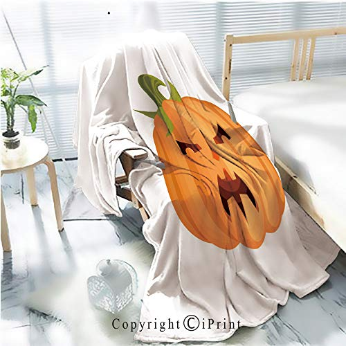 Printed Soft Blanket Premium Blanket,Evil Halloween Angry Pumpkin with Cutlery Microfiber Aqua Blanket for Couch Bed Living Room,W59.1 xH78.7