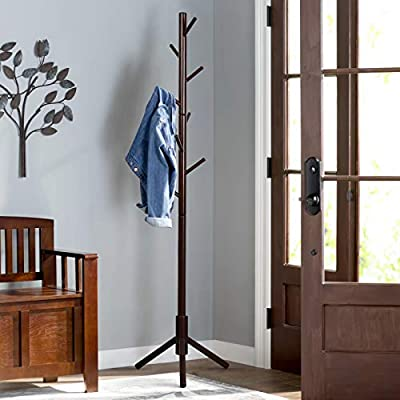 Vlush Sturdy Wooden Coat Rack Stand, Entryway Hall Tree Coat Tree with Solid Base for Hat,Clothes,Purse,Scarves,Handbags,Umbrella-(8 Hooks,Brown) - ✔MODERN&CHIC LOOKS - With classic and vintage tree design, Vlush Coat Rack Stand that would fit well in home, office, entryway, entry hall, bedroom, apartment, hotel and more! ✔VERSATILE&MULTIPURPOSE - With 8 convenient hooks,you can hanging your garment, hat, handbag and so on. Move easily, less space required. Hats look great stored on top of the coat rack tree! You can customize the rack height and hooks as you like! ✔SOLID CONSTRUCTION - This Free standing coat hanger is made by real wood coated with environmentally friendly lacquer, which is waterproof, anti-corrosion and non-toxic. - entryway-furniture-decor, entryway-laundry-room, coat-racks - 51ojapRqO%2BL. SS400  -