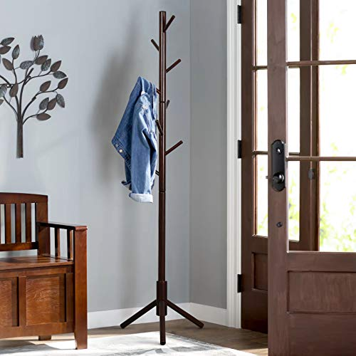(Vlush Sturdy Wooden Coat Rack Stand, Entryway Hall Tree Coat Tree with Solid Base for Hat,Clothes,Purse,Scarves,Handbags,Umbrella-(8 Hooks,Brown))