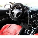 Zone Tech Non-slip Car Decoration Steering Wheel Handbrake Gear Shift Plush Cover – Auto Comfortable Thermal Steering Wheel Cover (Black)