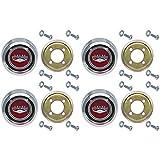 New Magnum 500 Red Wheel Center Caps for Ford Galaxie Fairlane Falcon Torino Falcon Monterey (EBC9OZ-1130RDST)