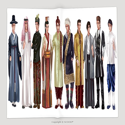 Custom Cartoon Illustration Of Asian Male Man Traditional Religion And National Costume Dress Clothing 357508559 Soft Fleece Throw Blanket - Asian Horror Costume