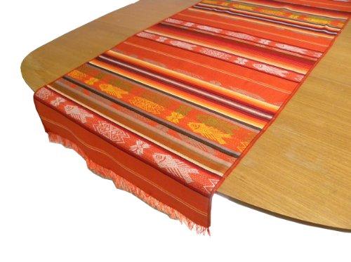Serape Hand Woven Traditional Fish Pattern on Table Runner, Orange by Minga