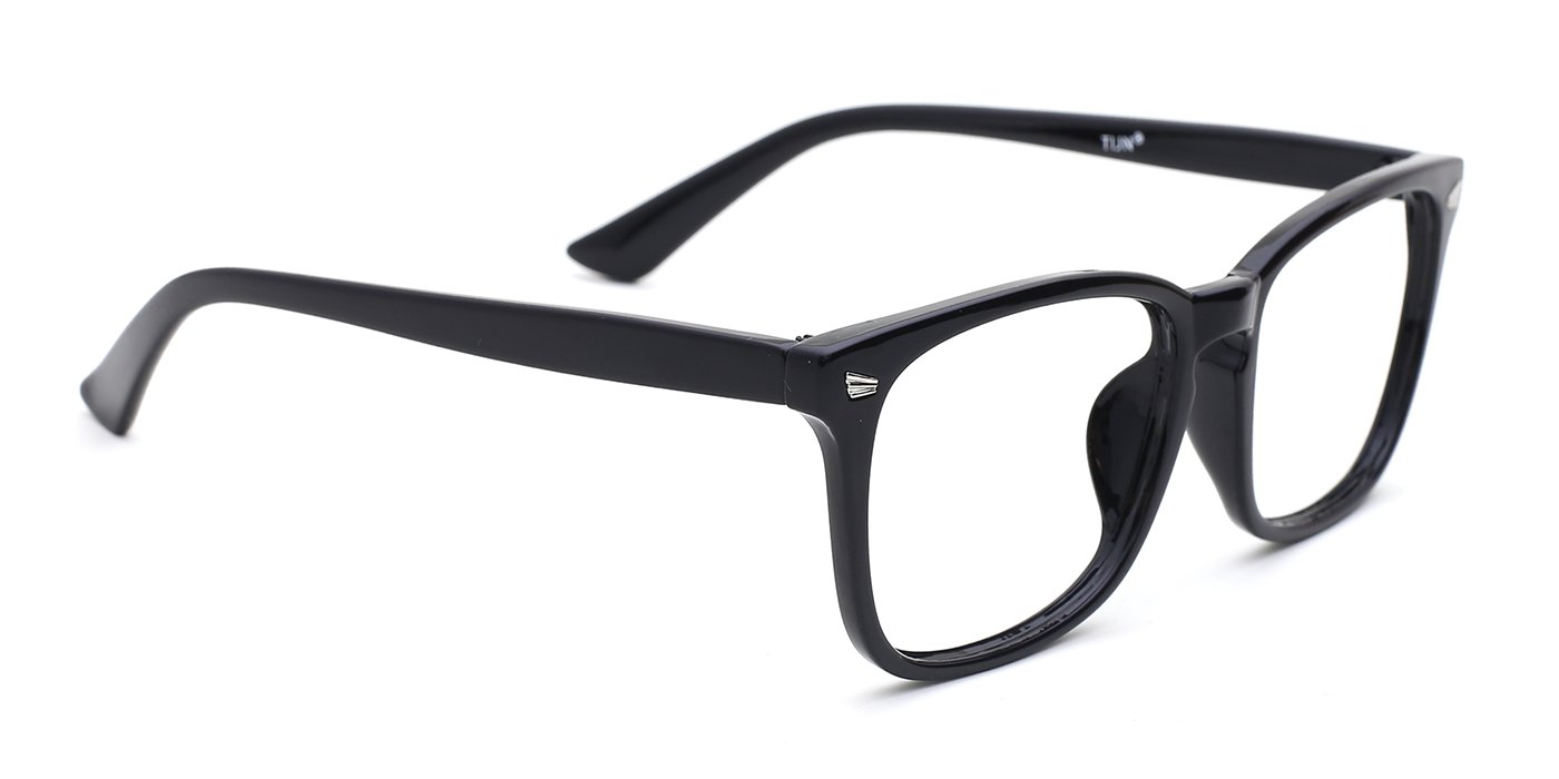 cd254c1e0e TIJN Unisex Non-Prescription Eyeglasses Glasses Clear Lens Eyewear Black  Square