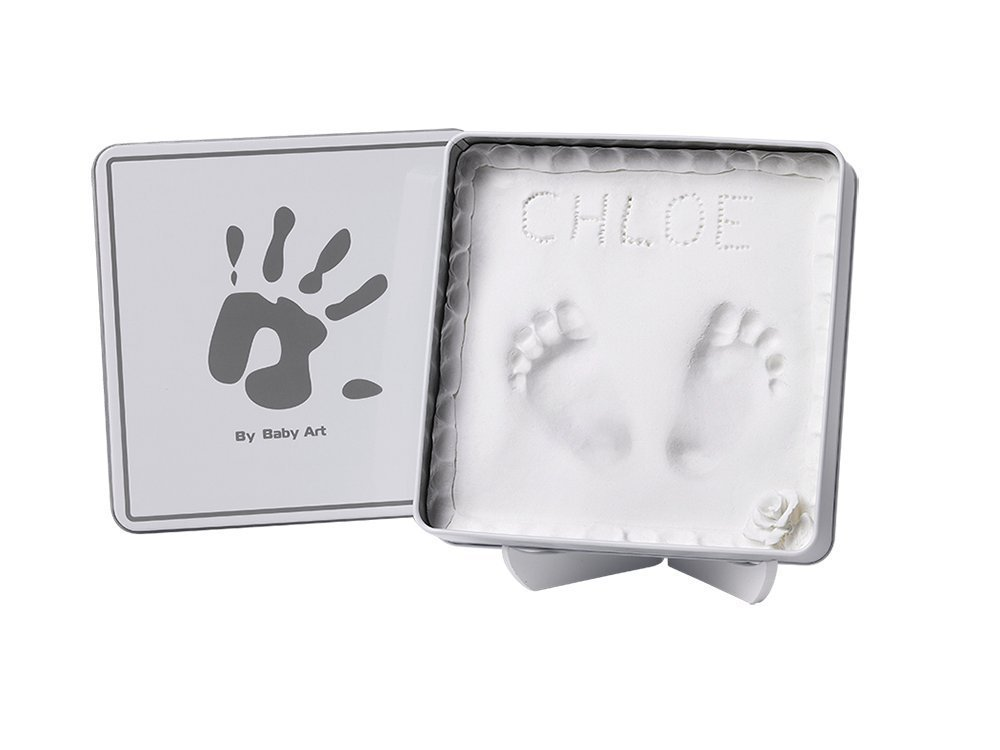Baby Art Magic Box Baby Hand/Footprint Casting Tin - Includes 2 Animal Door Jammers - Grey & White babieswithlove