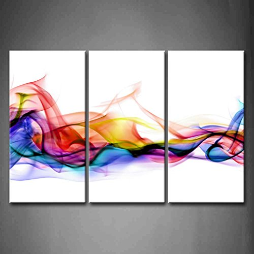 3 Panel Wall Art Fresh Look Color Abstract Smoke Colorful White Background Painting Pictures Print On Canvas Abstract The Picture for Home Modern Decoration (Stretched by Wooden Frame,Ready to ()