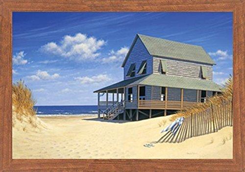Buyartforless Framed Westerly Breeze by Daniel Pollera 30x20 Art Print Poster Coastal Beach Retreat Ocean Vacation Seaside Honey Oak Frame