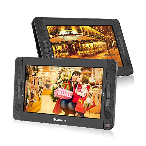 "10.1"" Dual Screen Portable DVD Player with 5-Hour Built-In Rechargeable Battery-Black (Dual DVD Players)"