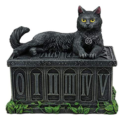 Ebros Black Cat with Pentacle Necklace Fortune's Watcher Tarot Card Deck Holder Jewelry Box Figurine with Major Arcana Numbers Home Decor Statue of Mystical Feline Cats Wicca Witchcraft Talisman