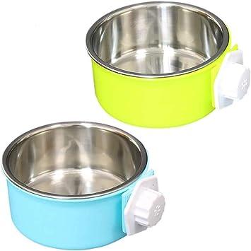 N////A per gatti cuccioli uccelli per animali domestici Ciotola per cani da appendere in acciaio inox rimovibile verde, blu coniglio