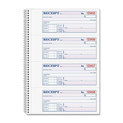 Adams ABFSC1182 White Wire Bound Money/Rent Receipt Books -  Adams Business Forms
