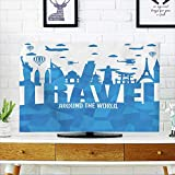 PRUNUS Protect Your TV Travel Around The World Text with Famous Landmarks and Travel Objects in Abstract Vector Protect Your TV W19 x H30 INCH/TV 32''