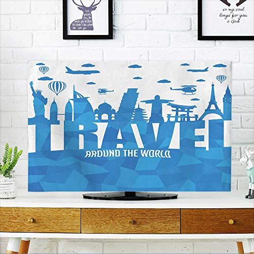 PRUNUS Protect Your TV Travel Around The World Text with Famous Landmarks and Travel Objects in Abstract Vector Protect Your TV W19 x H30 INCH/TV 32'' by PRUNUS (Image #6)