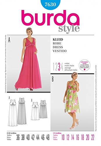 Burda Ladies Sewing Pattern 7630 Empire Line Maternity Dresses