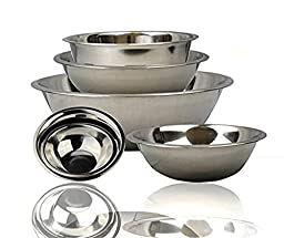 FineDine Stainless Steel Bowls, Nesting Kitchen Mixing Bowl Set | Mirror Finish [6 pieces]