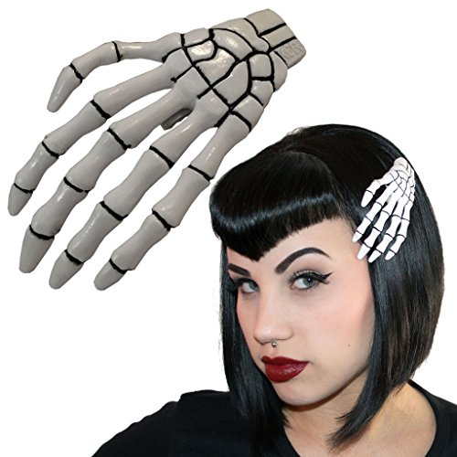 XL White Skeleton Hand Hair Clip Halloween Horror Accessory -