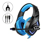 Gaming Headset with Mic LED Light 7.1 Surround Stereo Sound 3.5mm Wired Noise Isolation Volume Control,Blue For Sale