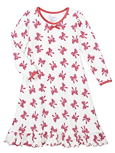 Sara's Prints Big Girls' Whirl and Twirl Long Sleeve Nightgown, New Red Ribbons-Rrb, 12 (Print Nightgown)