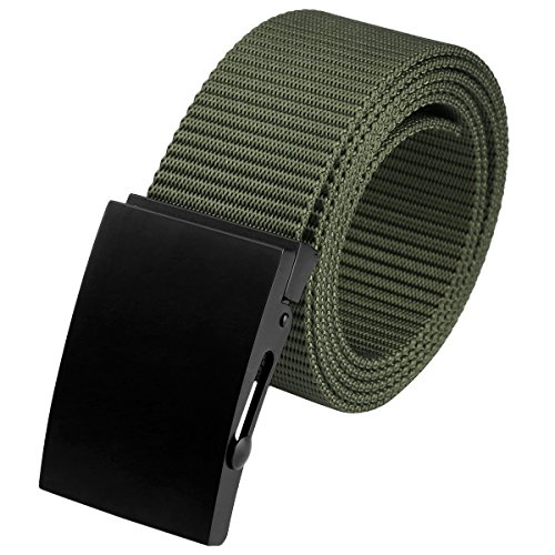 Moonsix Nylon Belts for Men,Military Style Army Webbing Duty Belt with Black Buckle,Army Green