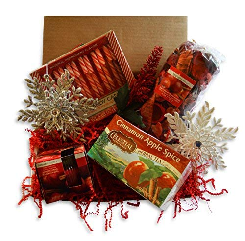 Christmas Gift Basket for Women: Ornaments, Tea, Candy Cane, Hand Cream, Potpourri Set for Her by Charmed Crates (Image #3)
