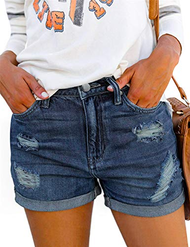 (MODARANI Stretchy Denim Overall Shorts for Women Blue Ripped Frayed Mid Rise Denim Shorts Comfy Soft XXL)