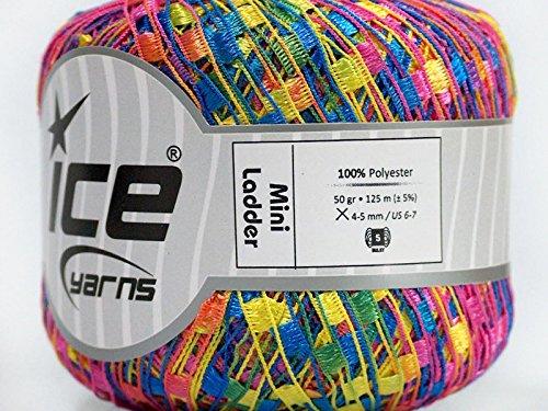 Neon Nosegay Mini Ladder Yarn - Pink, Yellow, Blue, Green, Orange, Purple Ribbon 50 Gram 136 Yards