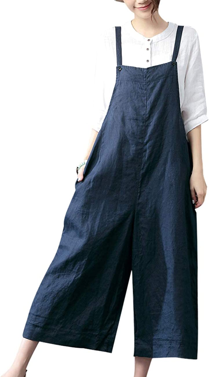 YESNO Women Casual Cropped Bib Pants Wide Leg Jumpsuits Rompers Overalls/w Pockets PZZ 51ojdFn5wVL