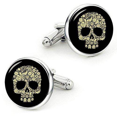 (Kooer Vintage Gold Skull Cufflinks Handmade Custom Personalized Gold Skull Cuff Links Wedding Jewelry Gift (Style 1))