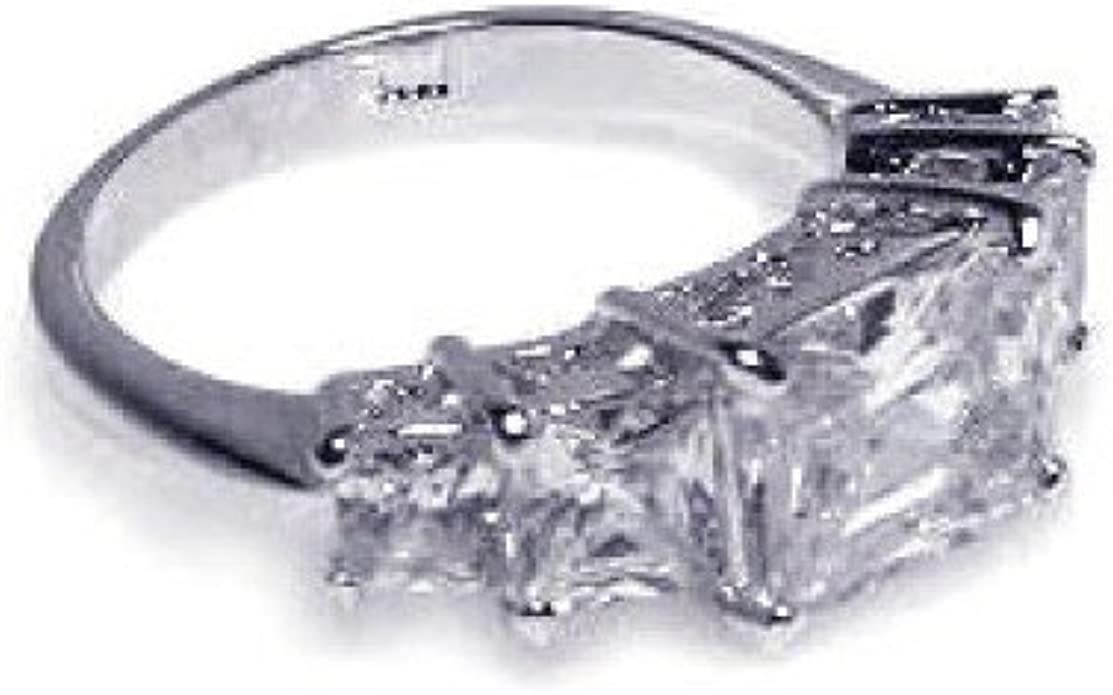 Princess Kylie Clear Round Cubic Zirconia Antique Flower Design Ring Rhodium Plated Sterling Silver