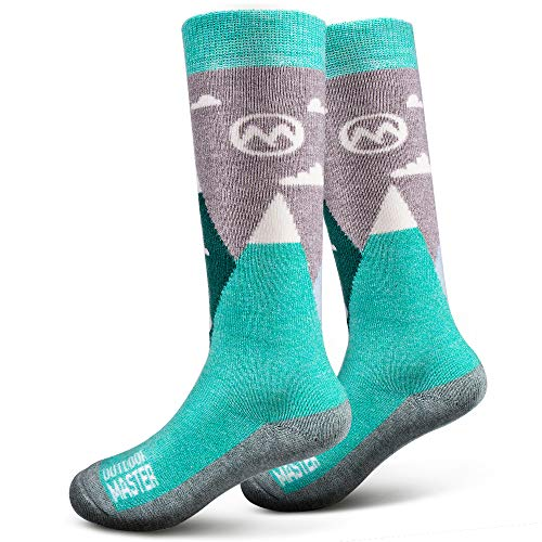 OutdoorMaster Kids Ski Socks - Merino Wool Breathable Blend, Over The Calf (OTC) with Non-slip Cuff, Sizes 7-11.5 - 12-4 - for Boys and Girls (XS, Woodland Green)
