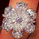 Flower Design,Shiny CZ,Elegant Jewelry,Finger Decor Women Trendy Flower Cubic Zirconia Rings Wedding Engagement Finger Jewelry Gift - Silver US 6