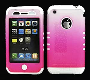 APPLE IPHONE 3G 3GS CASE DROPS HOT PINK WHITE HEAVY DUTY HIGH IMPACT HYBRID COVER WHITE SILICONE SKIN