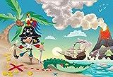 Laeacco Cartoon Pirate Boat Backdrop 10x6.5ft
