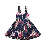 Hatoys Kids Girls Backless Bowknot Floral Princess Dresses Clothes (12M(Height:80-90cm), Navy)