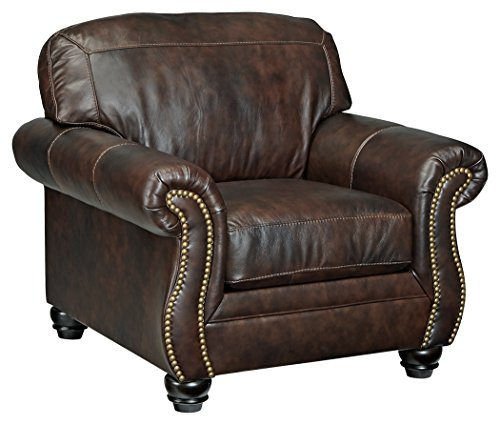 Genuine Leather Living Room (Signature Design by Ashley 8220220 Bristan Chair, Walnut)
